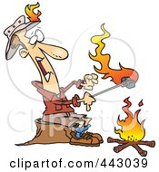 Cartoon Man Roasting Marshmallows And Catching His Hat On Fire