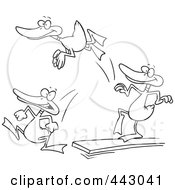 Royalty Free RF Clip Art Illustration Of A Cartoon Black And White Outline Design Of Mallard Ducks Jumping Off Of A Diving Board