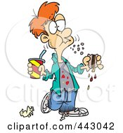 Royalty Free RF Clip Art Illustration Of A Cartoon Bad Mannered Boy Eating A Sloppy Sandwich by toonaday