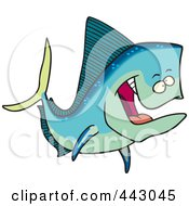 Royalty Free RF Clip Art Illustration Of A Cartoon Mahi Mahi Fish by toonaday