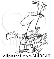 Royalty Free RF Clip Art Illustration Of A Cartoon Black And White Outline Design Of A Man Mailing A Letter And Parcels