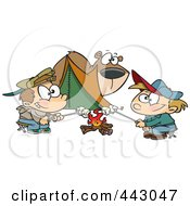 Royalty Free RF Clip Art Illustration Of A Cartoon Bear Watching Camping Boys Roast Marshmallows by toonaday