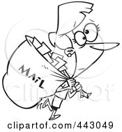 Royalty Free RF Clip Art Illustration Of A Cartoon Black And White Outline Design Of A Mail Woman Carrying A Big Bag