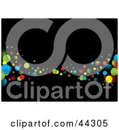 Royalty Free RF Clip Art Of Black Abstract Background With Coloroful Bubbles by michaeltravers