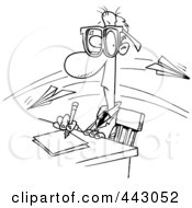 Royalty Free RF Clip Art Illustration Of A Cartoon Black And White Outline Design Of Paper Planes Flying Past A Working Businessman by toonaday