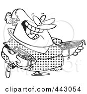 Royalty Free RF Clip Art Illustration Of A Cartoon Black And White Outline Design Of A Happy Woman Serving Spaghetti And Meatballs by toonaday
