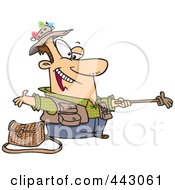 Royalty Free RF Clip Art Illustration Of A Cartoon Fisherman Holding Out A Glove On A Stick by toonaday