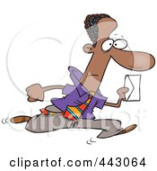 Royalty Free RF Clip Art Illustration Of A Cartoon Black Businessman Running With An Envelope