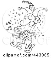 Royalty Free RF Clip Art Illustration Of A Cartoon Black And White Outline Design Of A Mardi Gras Jester by toonaday