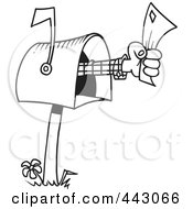Royalty Free RF Clip Art Illustration Of A Cartoon Black And White Outline Design Of A Hand Holding A Letter Out Of A Mailbox