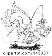Royalty Free RF Clip Art Illustration Of A Cartoon Black And White Outline Design Of A Fishing Marlin With A Man On A Hook