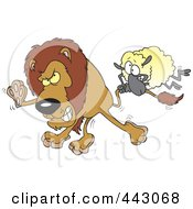 Royalty Free RF Clip Art Illustration Of A Cartoon Sheep Attacking A Lion by toonaday