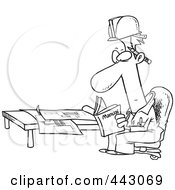 Royalty Free RF Clip Art Illustration Of A Cartoon Black And White Outline Design Of An Engineer Reading A Manual By Blue Prints by toonaday