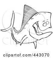 Royalty Free RF Clip Art Illustration Of A Cartoon Black And White Outline Design Of A Mahi Mahi Fish by toonaday