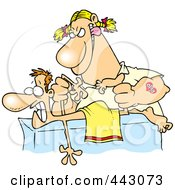 Cartoon Rough Female Massage Therapist Mangling A Patient