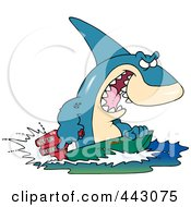 Royalty Free RF Clip Art Illustration Of A Cartoon Shark Steering A Boat by toonaday