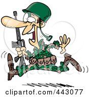 Royalty Free RF Clip Art Illustration Of A Cartoon Running Marine Soldier by toonaday