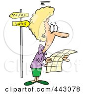 Royalty Free RF Clip Art Illustration Of A Cartoon Lost Woman Trying To Read A Map by toonaday