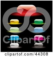 Royalty Free RF Clip Art Of A Rounded Rectangular Glowing Website Buttons In A Variety Of Colors