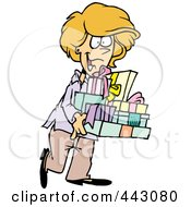 Royalty Free RF Clip Art Illustration Of A Cartoon Happy Woman Carrying Gifts