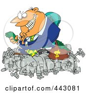 Royalty Free RF Clip Art Illustration Of A Cartoon Greedy Manager Counting His Money And Sitting On His Employees by Ron Leishman