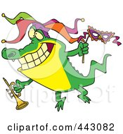 Royalty Free RF Clip Art Illustration Of A Cartoon Mardi Gras Crocodile Holding A Trumpet by toonaday