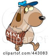 Royalty Free RF Clip Art Illustration Of A Cartoon Dog Postal Worker Carrying A Mail Bag