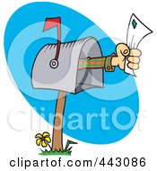 Royalty Free RF Clip Art Illustration Of A Cartoon Hand Holding A Letter Out Of A Mailbox