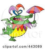 Royalty Free RF Clip Art Illustration Of A Cartoon Mardi Gras Crocodile Holding An Umbrella by toonaday