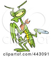 Royalty Free RF Clip Art Illustration Of A Cartoon Hungry Praying Mantis Holding Out A Plate by toonaday