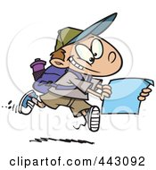 Royalty Free RF Clip Art Illustration Of A Cartoon Hiking Boy Using A Map