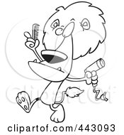 Cartoon Black And White Outline Design Of A Male Lion Using A Comb And Blow Dryer On His Mane