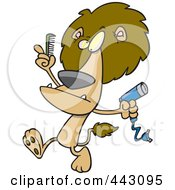 Cartoon Male Lion Using A Comb And Blow Dryer On His Mane