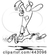 Royalty Free RF Clip Art Illustration Of A Cartoon Black And White Outline Design Of A Happy Man Jogging
