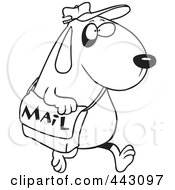Royalty Free RF Clip Art Illustration Of A Cartoon Black And White Outline Design Of A Dog Postal Worker Carrying A Mail Bag