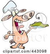 Royalty Free RF Clip Art Illustration Of A Cartoon Chef Pig Holding Up His Masterpiece