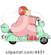 ObeseFat Woman Driving A Scooter Moped