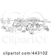Royalty Free RF Clip Art Illustration Of A Cartoon Black And White Outline Design Of A Cow With Eight Milking Maids by toonaday