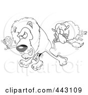 Royalty Free RF Clip Art Illustration Of A Cartoon Black And White Outline Design Of A Sheep Attacking A Lion by toonaday