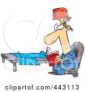 Royalty Free RF Clip Art Illustration Of A Cartoon Engineer Reading A Manual By Blue Prints