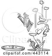 Cartoon Black And White Outline Design Of A Businessman Falling Into A Manhole