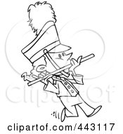 Royalty Free RF Clip Art Illustration Of A Cartoon Black And White Outline Design Of A Flutist In A Marching Band by toonaday