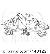 Royalty Free RF Clip Art Illustration Of A Cartoon Black And White Outline Design Of A Bear Watching Camping Boys Roast Marshmallows by toonaday