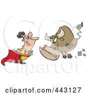Royalty Free RF Clip Art Illustration Of A Cartoon Bull Charging A Matador by toonaday