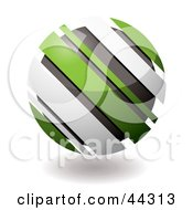 Royalty Free RF Clip Art Of A Circular Green And White Slanted Droid Icon