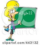 Cartoon Female Math Teacher During Class