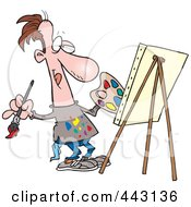 Royalty Free RF Clip Art Illustration Of A Cartoon Male Artist Painting His Masterpiece by toonaday