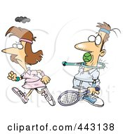 Royalty Free RF Clip Art Illustration Of A Cartoon Angry Woman Walking Away From Her Opponent After Shoving A Ball In His Mouth by toonaday