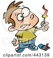 Royalty Free RF Clip Art Illustration Of A Cartoon Boy Playing With Matches