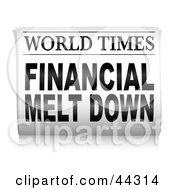 Royalty Free RF Clip Art Of The World Times Newspaper Financial Melt Down
